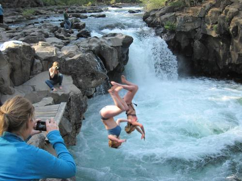 Synchro backflips into the frigid McCloud River