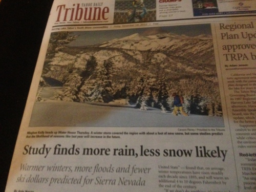 Front page of the Tahoe Daily Tribune, weekend edition
