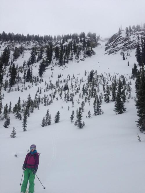 Juliana in front of Jaws, our first Utah backcountry run