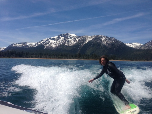 Julie tearing up Tahoe in front of Mt. Tallac on May 12th!