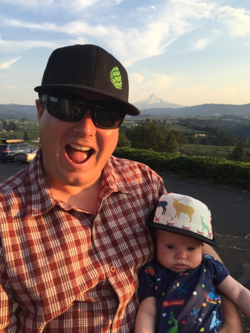 Declan and his dad in Hood River